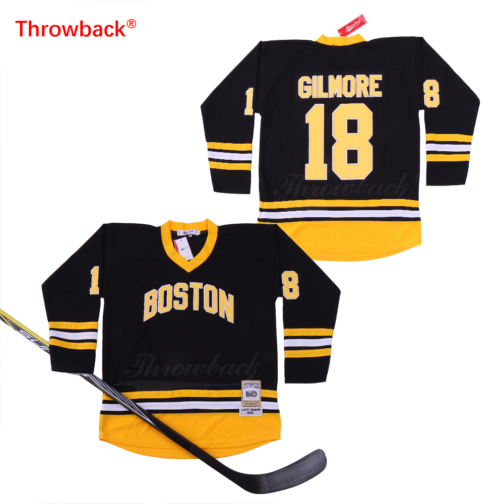 Throwback Men's Boston #18 Happy Gilmore Hockey Jersey Black Yellow White Embroidery Jersey Cheap yellow open shoulder jersey sweater