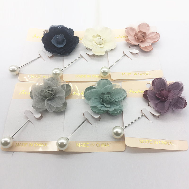 Wholesale New Hijab Pins 12PCS Flower Fabric Muslim Hijab Brooches For Women Safety Abaya Khimar Silver Pins Mix Color