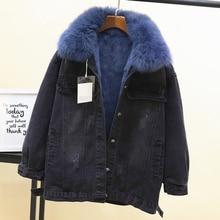 2018 Winter Loose Denim Coats Detachable Rabbit Fur Wool Liner Real Fox Collar Short Denim Jackets Girls Lady Warm Jean Jacket