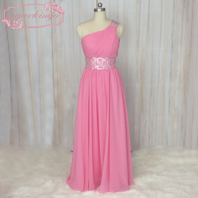 SuperKimJo One Shoulder Prom Dresses with Rhinestones Vestido De ...