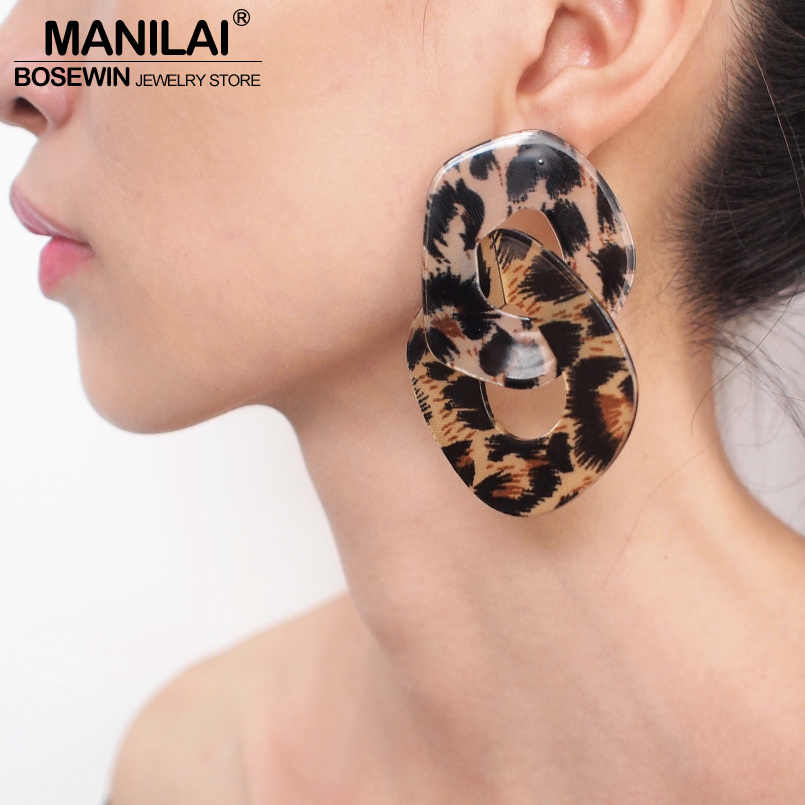 MANILAI Geometric Charm Leopard Grain Acrylic Dangle Big Earrings Women Fashion Jewelry Statement Earrings For Party Wholesale