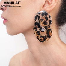 MANILAI Geometric Charm Leopard Grain Acrylic Dangle Big Earrings Women Fashion Jewelry Statement Earrings For Party Wholesale(China)