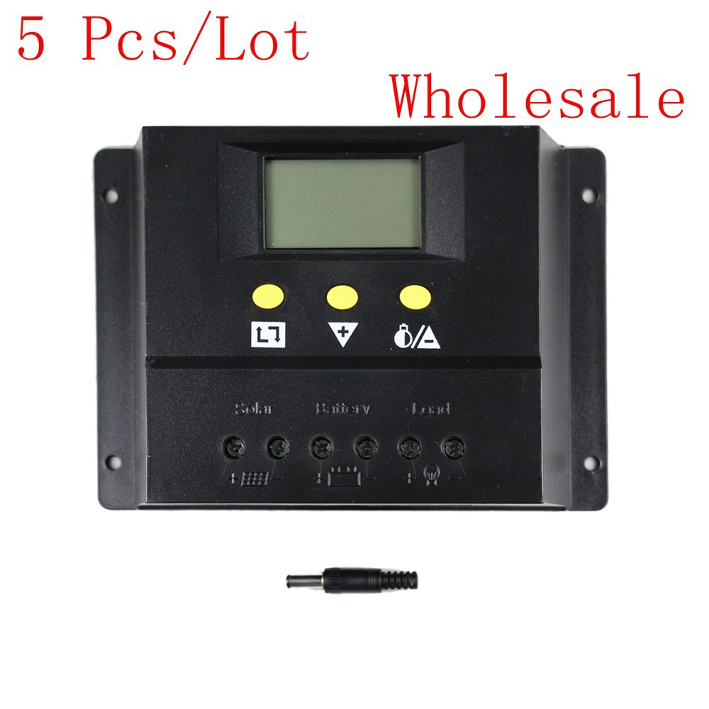 5PCS/LOT Wholesale 80A Solar Charge Controller 12V 24V 1000W 2000W Solar Panel LCD PWM Charging for Off Grid PV Solar System 100w 12v solar panel module 20a cmg controller 1000w off grid for car traile solar generators
