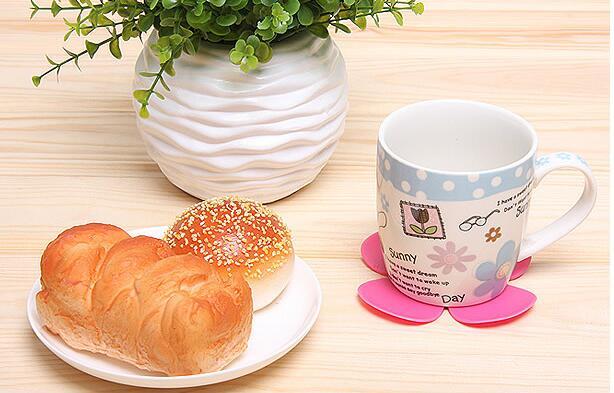 Fashion Hot 3d Mixed Colors Flower Petal Shape Cup Coaster Tea