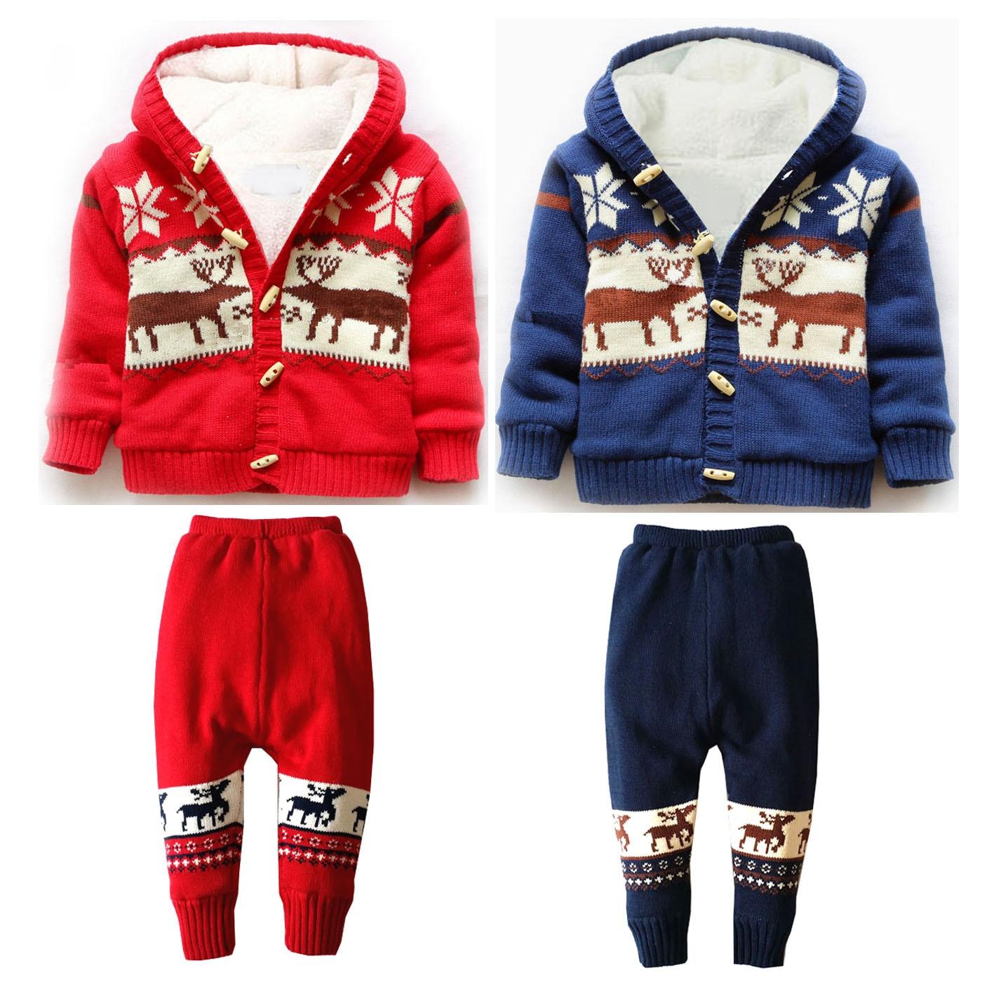Unisexe garçons filles 2 pièces hiver à capuche corne boucle manteau & Long pantalon ensemble épaissir chaud polaire coton tricot Cardigan pull pantalon