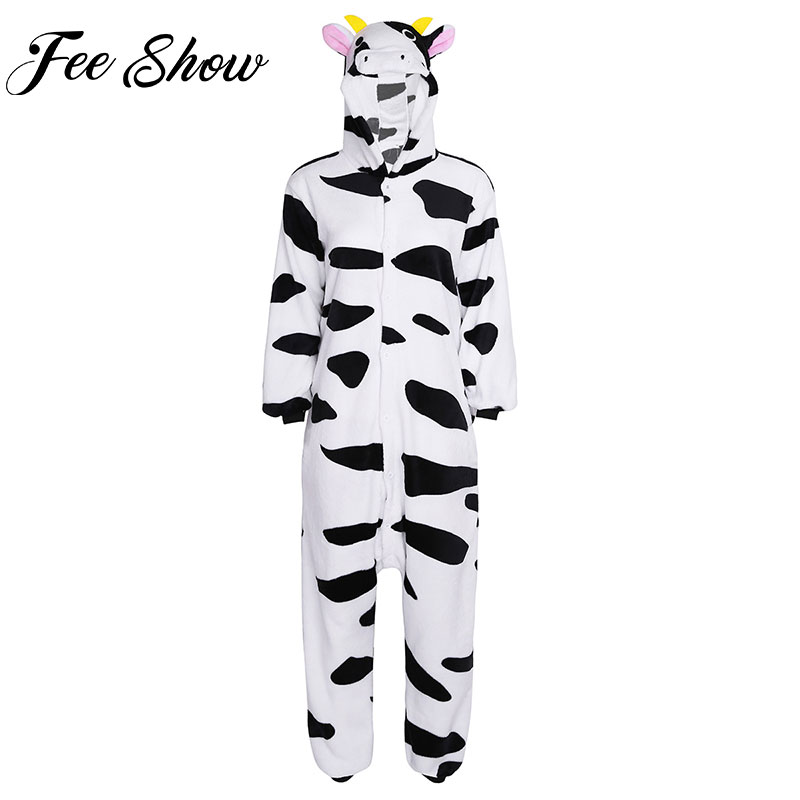 Women Adult Flannel Home Pajamas Winter Hooded Jumpsuit  Animal Cow Cosplay Halloween Costumes Party Clothes