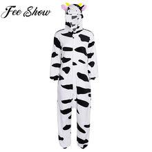 Для женщин взрослых Фланелевые домашние пижамы Зима комбинезон с капюшоном  животных корова косплэй костюмы на Хэллоуин праздничн. c31c41d491eba