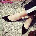 Vallkin 2017 quadrados das mulheres do salto baixo bombas mulheres de couro real casamento Sapatos Primavera Outono Sapatos OL Mulheres Two-Piece Tamanho Da Bomba 34-43