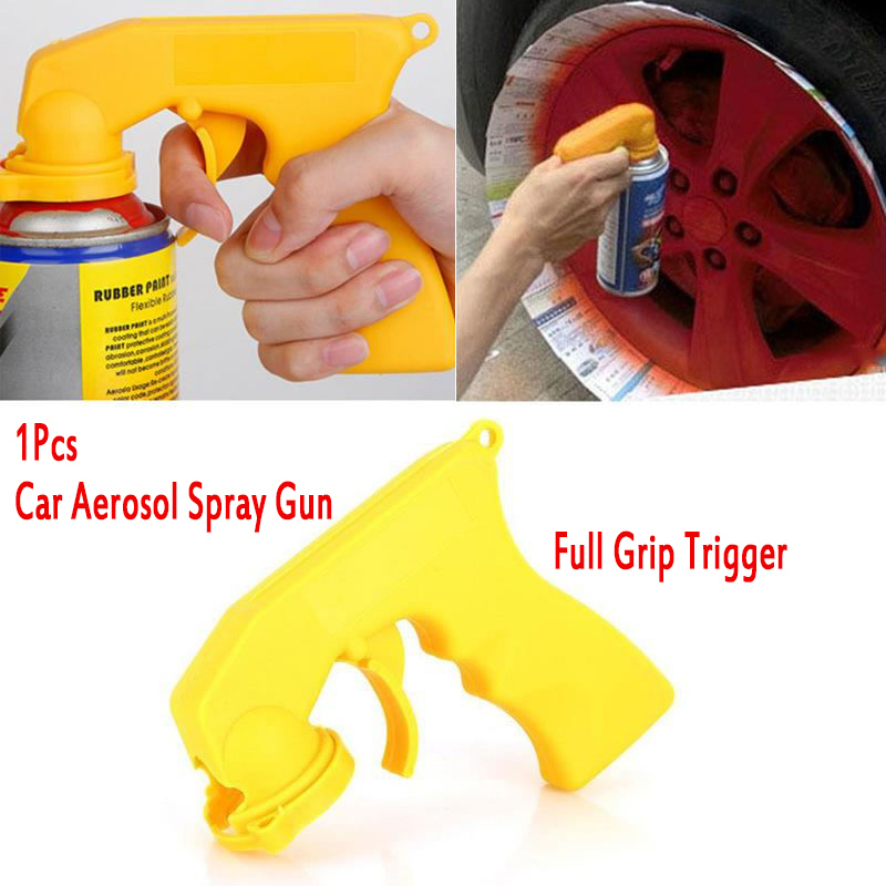 1Pcs Car Aerosol Spray Gun Handle With Full Grip Trigger Special Locking Collar Portable Car Painting Paint Tool Yellow