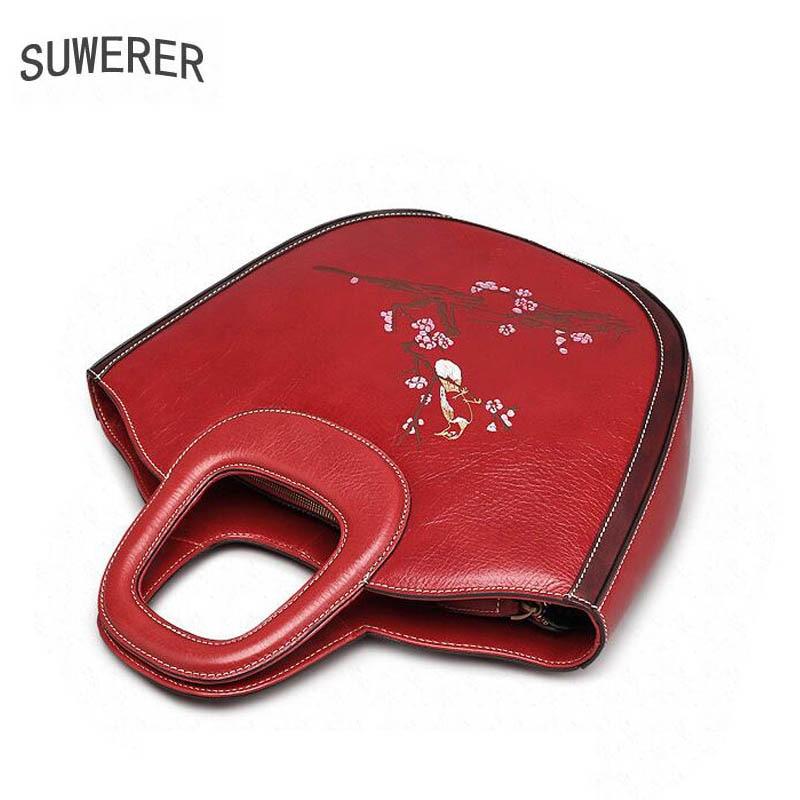 Handtaschen Für Leder Taschen Stil Luxus Neue Marken Frauen red Chinesischen Designer Echtem Black Suwerer Berühmte wE0Xfq