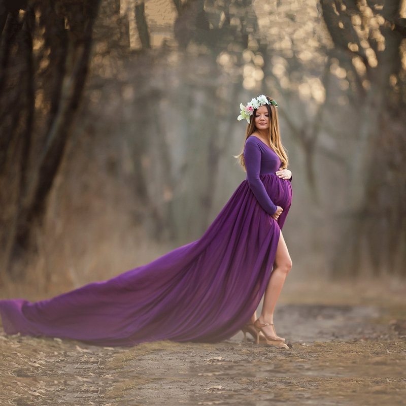 Le Couple Maternity Long Dress 110inches Length Maternity Photography Prop Dress Maxi Gown Slip Front Shoot Long Chiffon Dress maxi front slit crushed velvet tank dress
