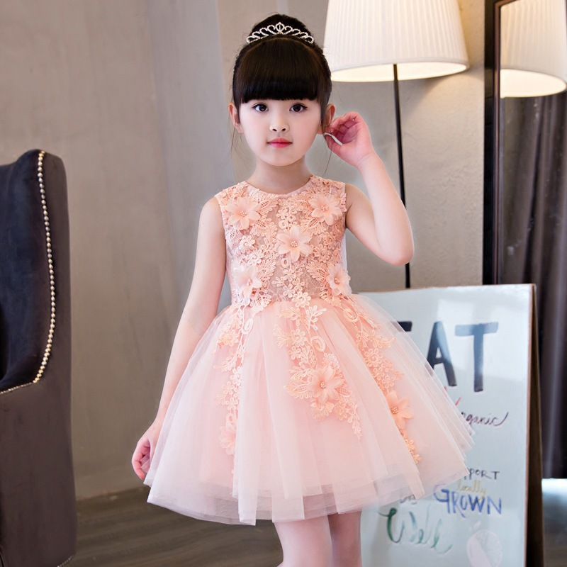 Royal Pink Flower Girl Dress Princess Girls Dresses Knee-Length Ball Gown Children Summer Dress Appliques Party Dress AA248 new girls dress summer lace vest sleeveless princess peng baby girl children england style knee length crew neck ball gown