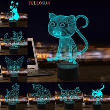 Cutely Small Cat 3D LED Lights Animal 3D Bedside Night Lamps Colorful Change Touch USB LED Night Light Home Decor Creative Gift mini cartoon led night lights lamps cute pat fish cat light table lampe colorful led night lamp gift