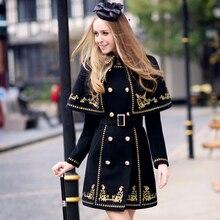 dabuwawa autumn and winter slim classic luxurious gold embroidery cloak two items set wool coat girls