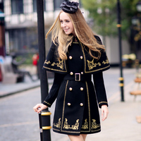 original autumn and winter slim vintage luxury gold embroidery cloak two pieces set wool coat women