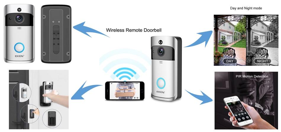 V5 vidéo sonnette intelligente sans fil WiFi sécurité