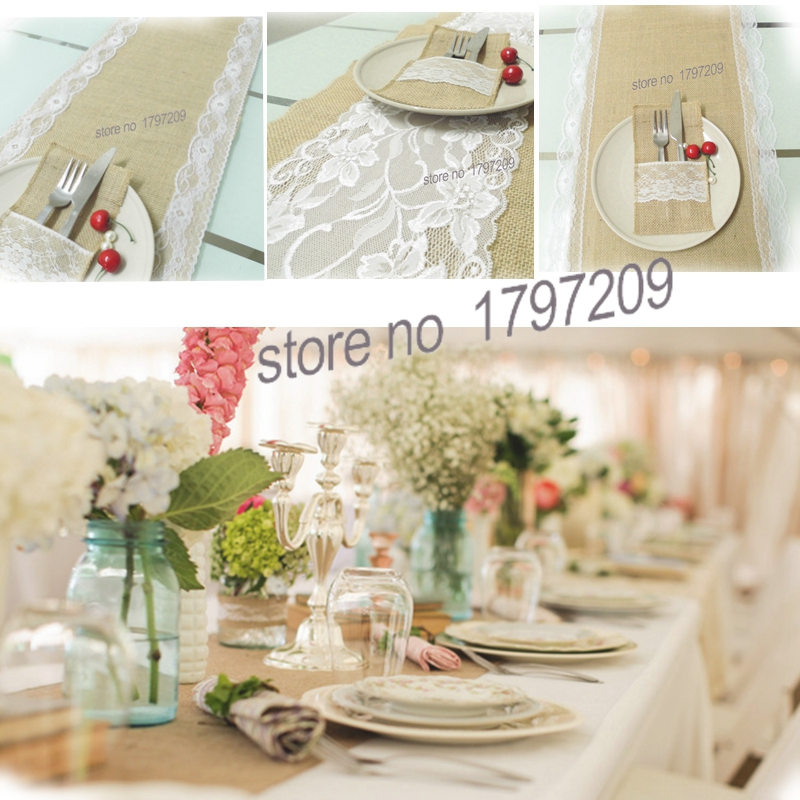 30X180cm Hessian Jute Burlap Table Runner With White Lace Vintage Tablecloth Home Textile Rustic Wedding Decoration Centerpieces In Party DIY Decorations
