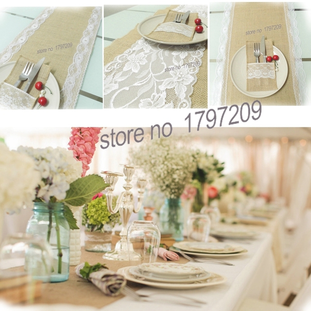 30X180cm Hessian Jute Burlap Table Runner With White Lace Vintage Tablecloth  Home Textile Rustic Wedding Decoration