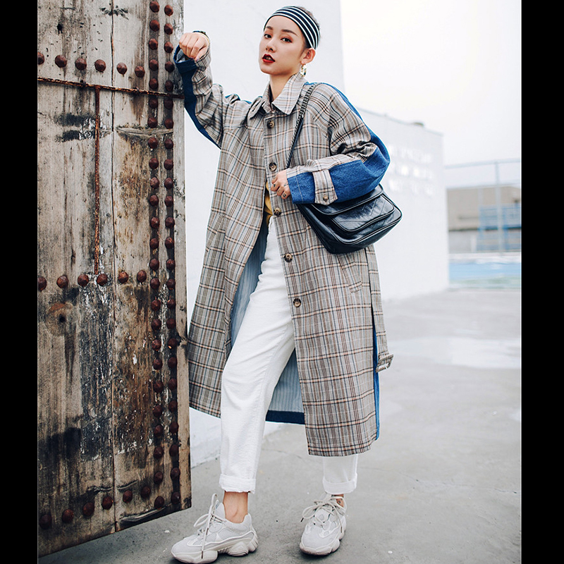 sharezz 2019 Plaid Contrast Color retro Overcoat New Fashion Female's   Trench   For Women Long Coat windbreaker Vestido