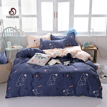 ParkShin Cartoon Dog Pattern Bedding Set Home Textiles Pastel Underwear 4/3PCS Duvet Cover Flat Sheet Double Bed Adult