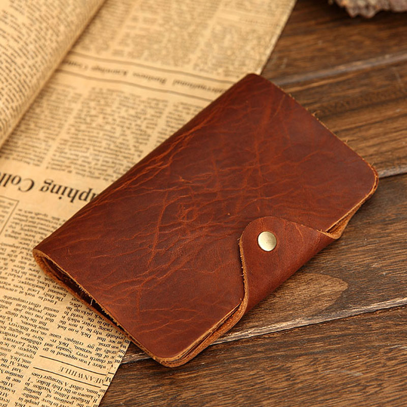 Men s classic Vintage Real Leather Purse with Coin Pocket Raw and Natural Crazy Horse Cowhide