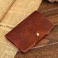 Hombres Vintage classic de Cuero Real Monedero con Monedas de Bolsillo Primas Naturales y Caballo Loco piel de Vaca Carpeta Del Cuero Genuino para hombres