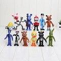 12 Pçs/set FNAF Bonnie Foxy Chica Freddy Fazbear Figuras de Ação PVC Brinquedos Boneca das Cinco Noites No Freddy Brinqudoes Frete grátis