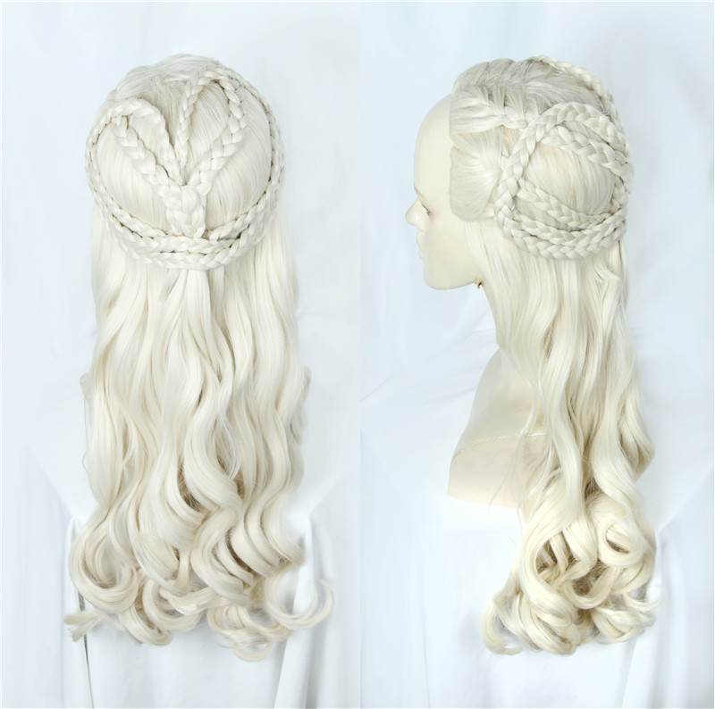 2019 New Type Game Of Thrones Daenerys Targaryen Cosplay Wig Synthetic Hair Long Wavy Dragon Of Mother Wig Halloween Party Use