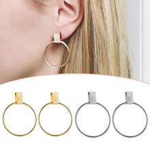 Sale Punk Circle Silver Dangle Earrings for women Unique Valentines Gift Big Round Statement Fashion Jewelry