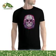 Pink Skull Violet Roses Mens T-shirt S-3XLNew T Shirts Funny Tops Tee New Unisex High Quality Casual Printing 100% Cotton