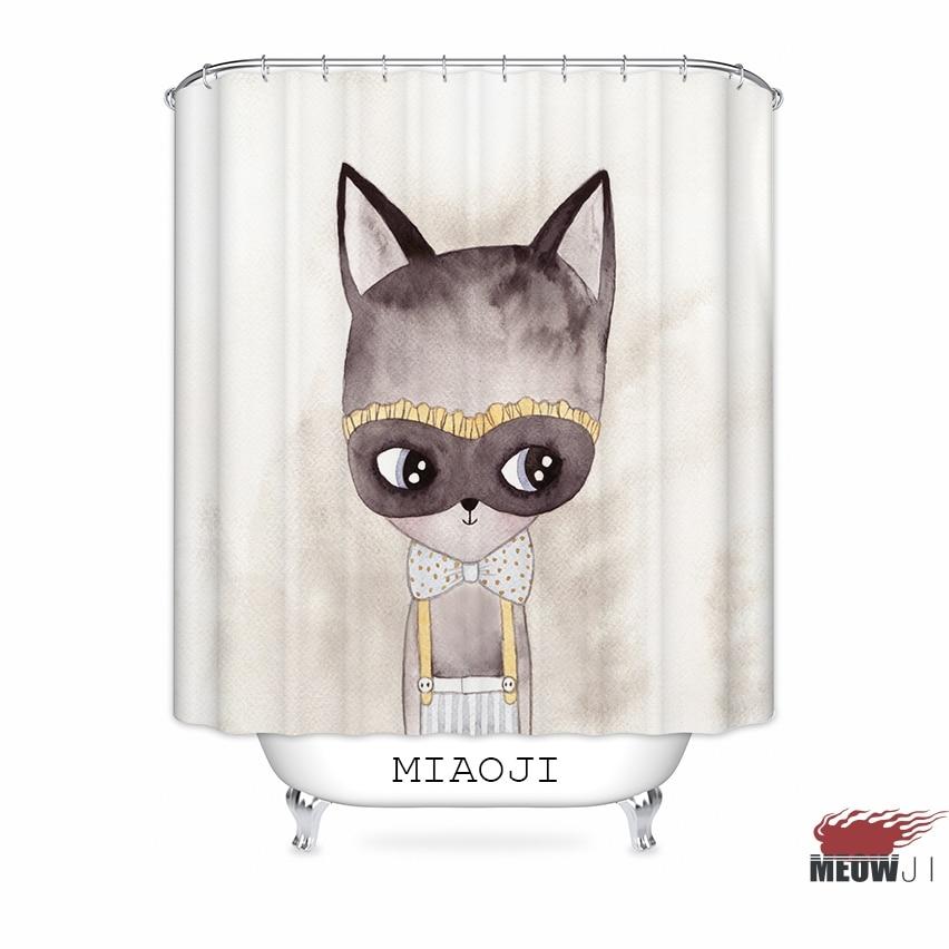 [MIAOJI] <Animals> Custom Waterproof Fabric Shower Curtain Cartoon Trendy Bathroom Decor Various Sizes Free Shipping