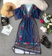 NiceMix 2019 Ladies Summer Short Sleeve Loose Boho Robe Seaside Holiday Ethnic Style Women Clothes Vestidos Mujer Sandy Beach