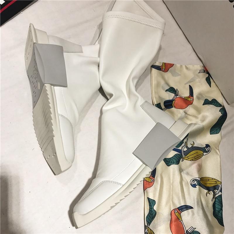 Bianco Di Amanti Elastico Pelle Donne Governanti Altezza Stile Black Silla Le Donna white Piatto Crescente Per Stivali Punk Stivaletti 5qfnwaAz