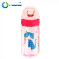 CCUBERLE Cartoon Children Water Bottles Drinkware Leak Proof Straw Sports Bottle BPA FREE 450ML Kids Bike Cycling Water Bottles