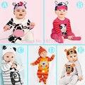 (Animal bebê menino roupas) a roupa do bebê romper vaca/panda/leão/tigre longo-sleeved romper com bonito chapéu