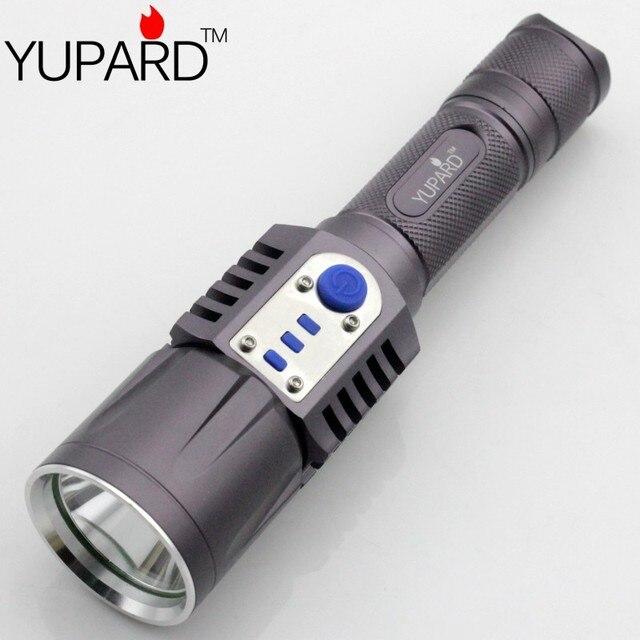 YUPARD XM-L2  T6 LED Flashlight Torch Brightness LED USB charge  5modes mobile power bank 18650 battery  Intelligent flashlight