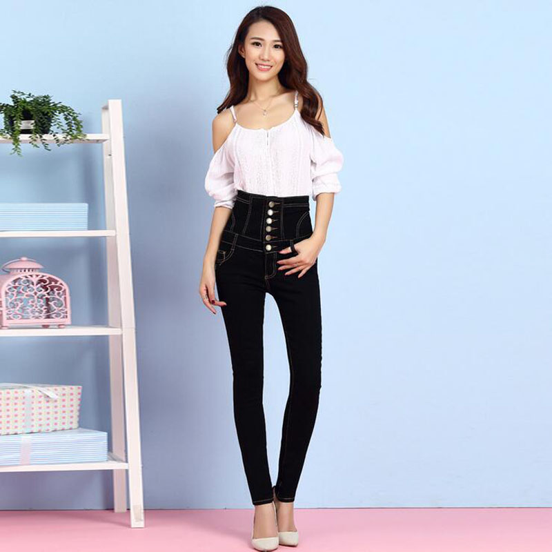 Negro Lady Fat 2018 Jeans Feminina Lápiz Tamaño Vintage Más Womens Camisa Black Largo Cintura Pantalones 6xl Alta Mujer Denim annwpx1
