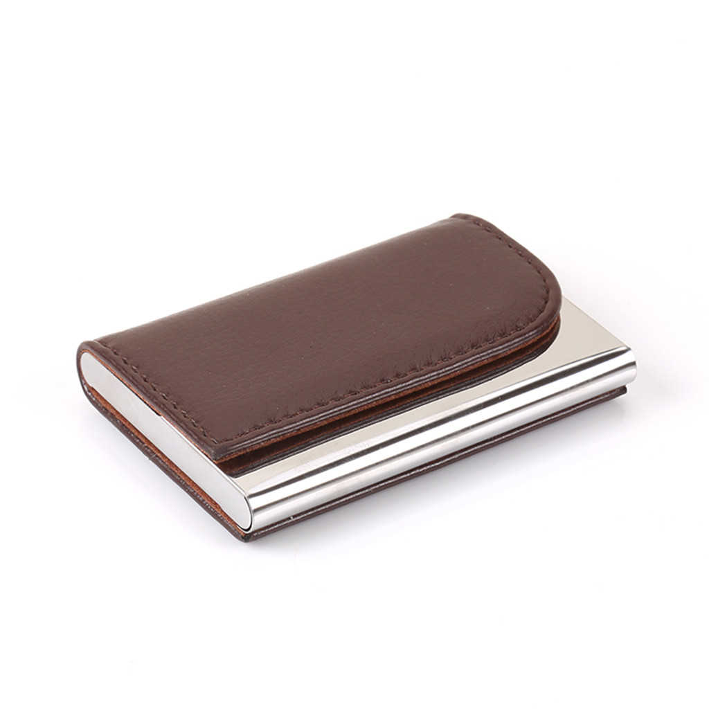 Aelicy Stainless Steel High Quality Business Card Case Leather Men Luxury Brand ID Credit Card Visiting Cards Holder Wallet
