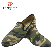 British design classic-traditional loafers and military motif Camo print with Quilt padded inner lining men canvas casual shoes
