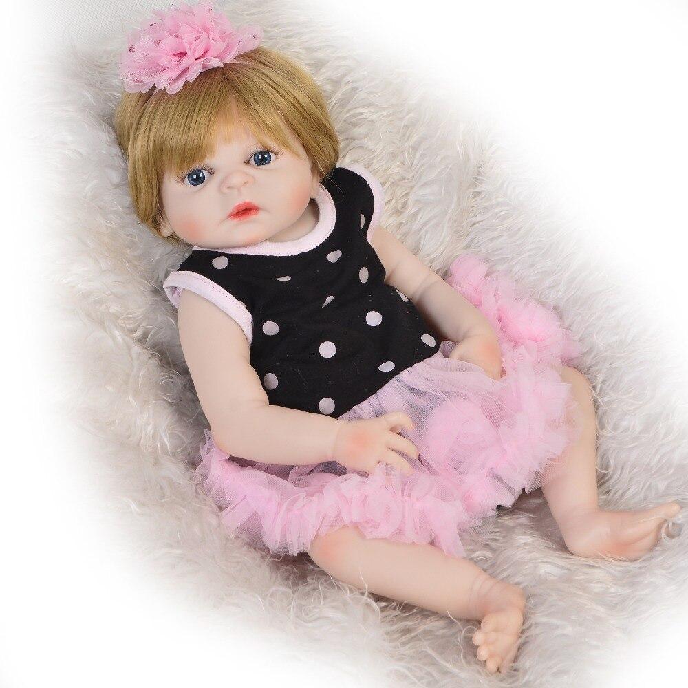 Nuevo diseño 48 cm muñeca de vinilo Reborn Menina completa de silicona resistente al agua 19 pulgadas Reborn baby Doll pelo dorado para niños regalo de Cumpleaños-in Muñecas from Juguetes y pasatiempos    2