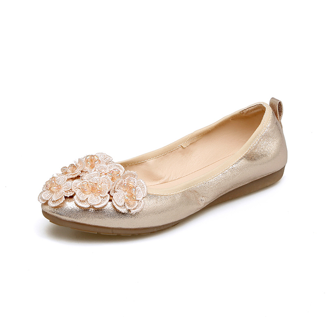 fcf269bc5 Lankarin 2017 Summer Women Sweet Flower Gold Flats Ladies Comfortable Round  Toe Silver Flat Shoes Woman Foldable Ballet Shoes