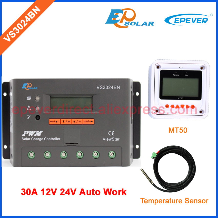 EPEVER 30A Solar battery power controller VS3024BN 12V 24V Auto Work temperature sensor PWM +MT50 Remote meter 20a 12 24v solar regulator with remote meter for duo battery charging