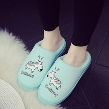 2017 Winter couple cotton slippers female indoor warm non-slip cute bag with the home month lint slippers male winter