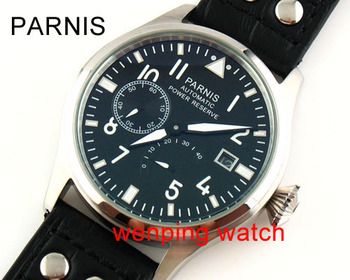 Parnis 47mm black dial Green luminous steel Power Reserve st 2530 Automatic Men's Date Watches