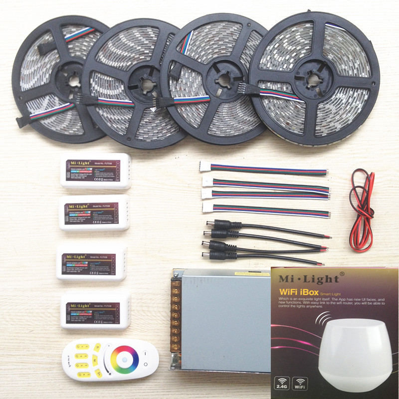 20m WIFI mi light led strip RGBW RGB 5050 12V tape Waterproof + 4pcs Controller +4 Zone group remote + Power adapter Free ship 20m rgb led strip 5050 flexible led light 50leds m 4pcs 4 zone controller led remote control 12v 15a power supply kit