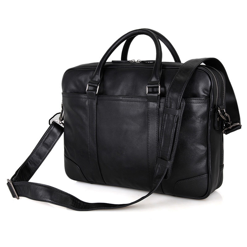 Nesitu High Quality Black Office Genuine Leather Men Briefcase Messenger Bags Business Travel Bag 14'' Laptop Portfolio M7348