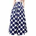 New Faldas 2017 Estilo Verão Saia de Cintura Alta Saias Longas Das Mulheres do Desgaste do Trabalho Moda blue Dot Femme Jupe Saias