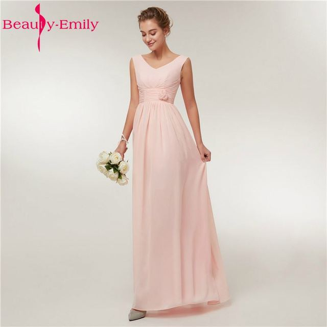 cb2e2fac96947 Beauty Emily Pink Long Simple Chiffon Evening Dresses 2019 Women Formal  Long Evening Party Prom Dresses