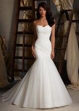 2015 New Hot Sale Simple And Elegant Pleated Soft Tulle Mermaid Wedding Dress 100% Real Photos Amanda Novias NS717