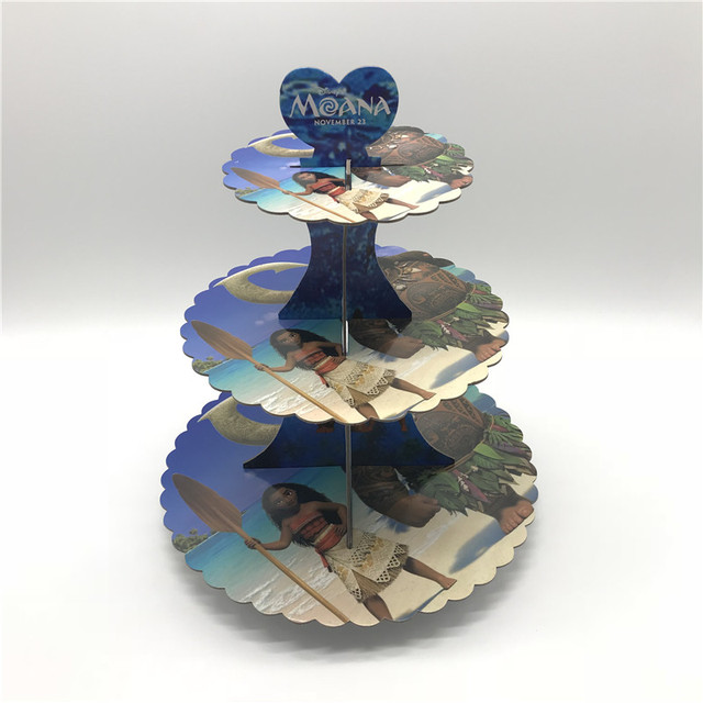 Disney Moana Maui 3 Tier Paper Cake Stand Hold Cookies Baby Shower